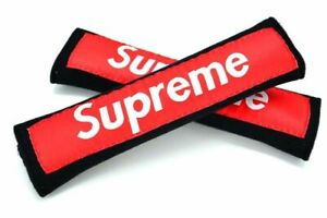 2pcs Supreme Black red Soft Touch Fabric Seat Belt Cover Shoulder Pad Cushion