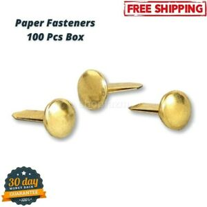Classic Solid Brass Paper Fasteners 1 2 Plated 1 Box 100 Fasteners box