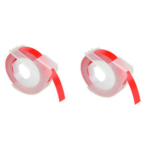 2pk White On Red For Dymo 520102 Label 3d Plastic Embossing Tapes 3 8
