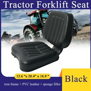 Pvc Tractor Seat Lawn Mower Forklift Seat With Backrest Sliding Tracks Black Usa