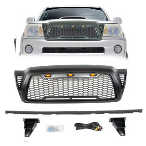 For 2005 2011 Toyota Tacoma Upper Grille Front Hood Grill Bumper W 3 Led Lights