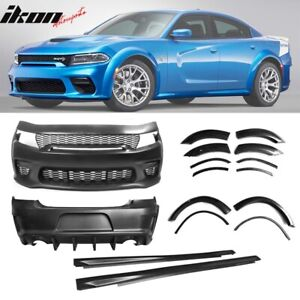 Fits 15 20 Dodge Charger Widebody Whole Bumper Side Gloss Black Diffuser Kits