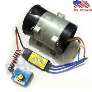 12v Car Electric Turbo Supercharger Air Intake Fan Boost W 30a Brushless Esc