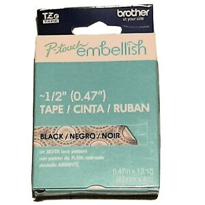 Brother P touch Embellish 1 2 Black On Silver Lace Tape Decorative Design Craft