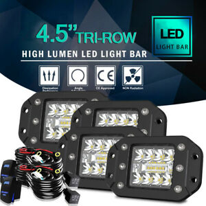 4x 5 3 row Flush Mount Led Lights Pods Backup Reverse Rear Bumper Off Road 4wd