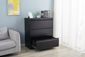 Lateral File Storage Metal Cabinet W 3 Lockable Drawers Home Office Cabinet