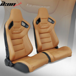 Universal Pair Reclinable Racing Seats Dual Sliders Brown Pu Carbon Leather