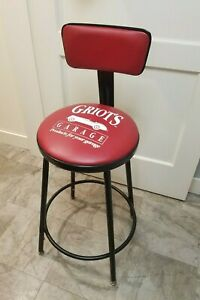 Rare Griot S Garage Shop Stool With Backrest Usa Made Red Vintage Adjustable