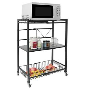 Microwave Rack Holder Stainless Steel Rolling Storage Kitchen Carts With 3 Hooks