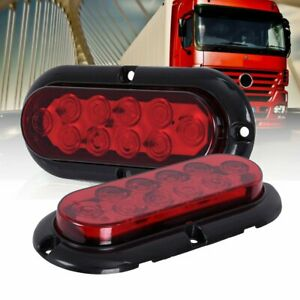 2x Red 6 10 Led Oval Stop Turn Signal Tail Brake Light Side Trailer Truck Lamp