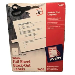 Avery 5455 White Full Sheet Block Out Print Labels Removable Adhesive Cut Size