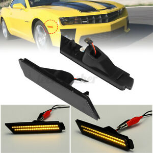 Front Turn Signal Light Smoked Led Side Marker Amber For Chevy Camaro 2010 2015