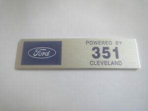 Ford Powered By 351 Cleveland 351c Mustang Torino Dash Valve Cover Engine Plaque
