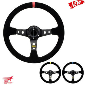 Universal 14 Inch 350mm Suede pvc Car Racing Steering Wheels Drifting Sport
