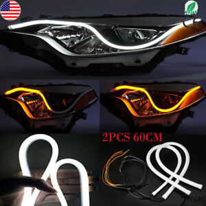 2x 60cm Car Sequential Headlight Smd Led Strip Lights Dynamic Turn Signal Lamp