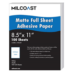 Milcoast Full Sheet 8 5 X 11 Matte Adhesive Sticker Paper Labels For Printers
