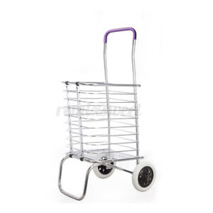 Folding Shopping Cart Basket With Wheels For Laundry Travel Grocery Luggage Us
