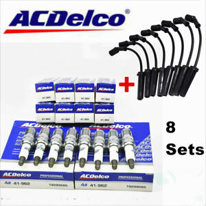 8x 9748hh Wires Acdelco 41 962 Spark Plugs Set For Chevy Gmc 4 8l 5 3l 6 0l