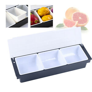 Bar Condiment Dispenser Caddy 3 Compartments Server Tray Chilled Food Fruit Usa