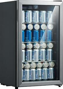 Refrigerator Mini Beer Beverage Wine Soda Fridge Glass Door 115 Can Drink Cooler