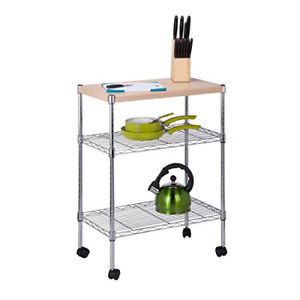 Honey can do Crt 04346 Rolling Utility Cart With Wooden Top Chrome Finish