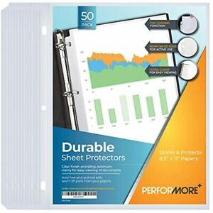 Durable Clear Sheet Protectors 50 Pack Reinforced Holes 8 5 X 11 Inches