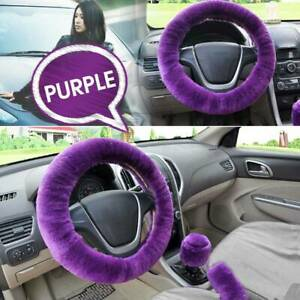 Car Fur Plush Steering Wheel Gear Knob Handbrake Cover Wool Furry Fluffy Purple
