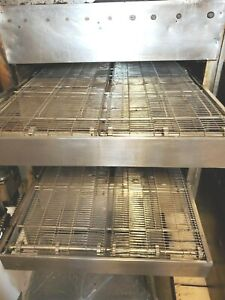 Split belt Middleby Marshall 360 Double Stack Natural Gas Conveyor Pizza Oven