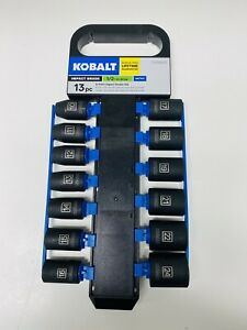New Kobalt 13 Piece Set 1 2 Drive 6pt Impact Grade Socket Set Metric 0338633