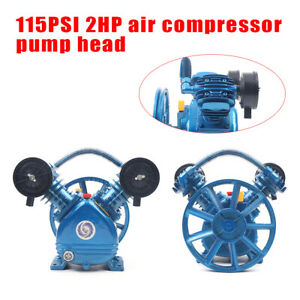Cast Iron 2hp Twin Cyclinder Air Compressor Head Pump 115psi Single Stage