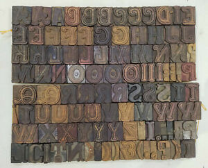 Vintage Letterpress Wood wooden Printing Type Block Typography 108 Pc 34mm tp 4