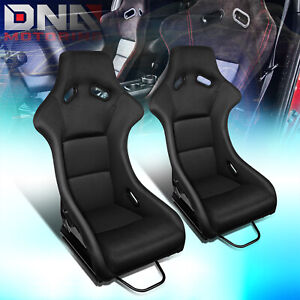Pair Fiberglass Frame Black Fabric Cover Bucket Racing Seat W side Mount Bracket