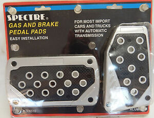 Spectre 6510 Aluminum Gas And Brake Pedal Pads Auto Trans Tuner Import