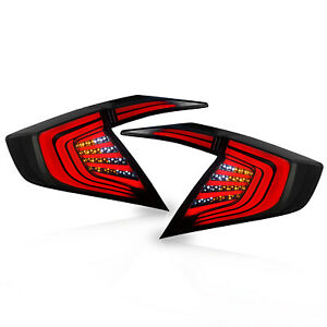 Customized Smoked Led Tail Lights Assembly Fit For 2016 2017 Honda Civic