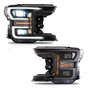 Customized Black Full Led Headlights W Sequential Turn Signal For 18 20 F 150