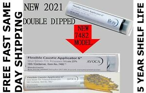 New 2021 Bray Caustic Silver Nitrate Applicator Sticks 6 Double Dipped 100 ps