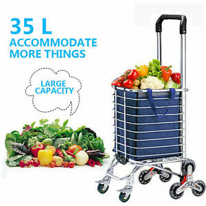 Folding Shopping Cart Portable Stair Climbing Grocery Reusable Utility E 20