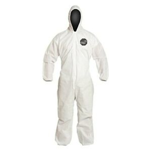 Proshield 10 Large Chemical Resistant Coverall W Hood Elastic Wrists Ankles
