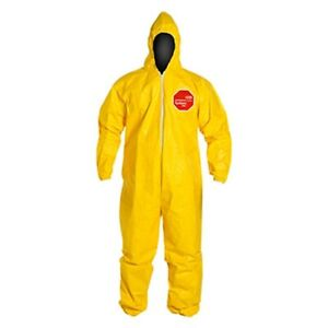 Tychem 2000 Large Chemical Resistant Coverall W Hood Elastic Wrists Ankles