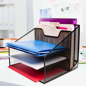 Mesh Desk Organizer 3 Tier File Letter Tray For Home Office Supplies