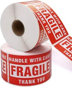 500 Per Roll 2x3 Fragile Handle With Care Stickers Easy Peel And Apply