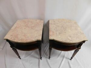 Weiman Heirloom Side End Tables Mahogany Wood With Marble Top Pickup Only