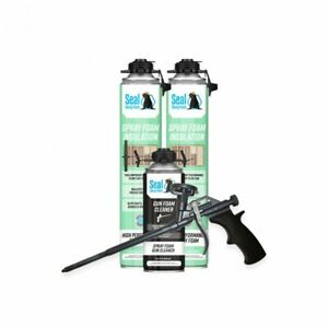 Seal Spray Closed Cell Insulating Foam Can Kit W gun Applicator Cleaner 50 Bf