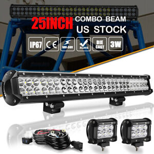 25 inch Dual Row Led Light Bar Driving Offroad Spot Flood Combo Suv Ute Wiring