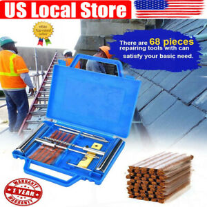 68pcs Tire Repair Tool Kit Heavy Duty Flat For Car Motorcycle Home Plug Patch Us