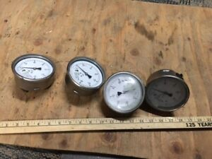 4 Vintage Pressure Gauge Steampunk Lamp Parts Lot Stainless Railroad 4 1 4