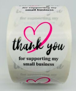500 Pink Black Thank You For Supporting My Small Business Label Sticker