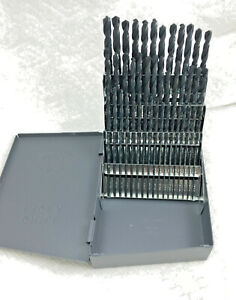 60 Pc Black Wire Number Jobber Drill Bit Set 1 To 60 Huot Case 118 Degree