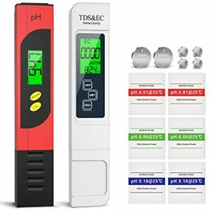 Ph Meter Tds Ec Temperature 4 In 1 Set Lcd Display Conductivity High Accuracy