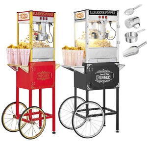 Vintage Single double Door Popcorn Machine Maker Popper With Cart And 8oz Kettle